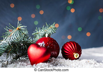 röd, jul ornamenter, med, festlig, bakgrund