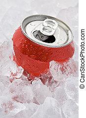 röd, kan, av, mousserande, mjuk dricka, sätta, in, is, med,...
