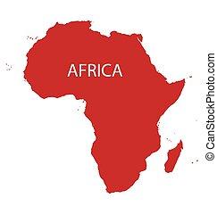 röd, karta, av, afrika