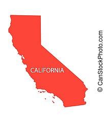 röd, karta, av, kalifornien