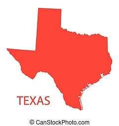 röd, karta, av, texas