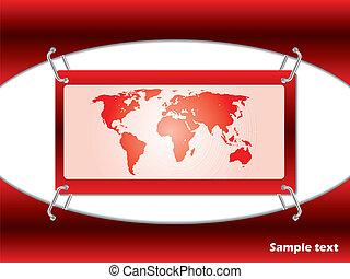 röd, karta, kort