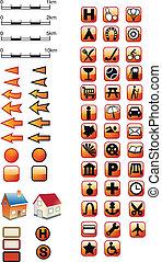 röd, karta, symboler