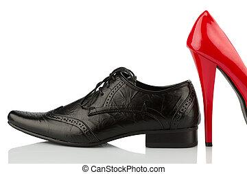 röd, kickhäler, och, herrars sko