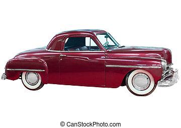 röd, klassisk, årgång, bil