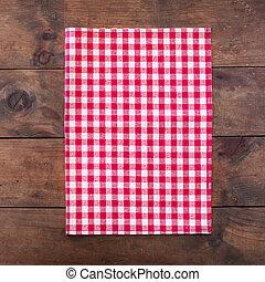 röd, klassisk, brocket, bordlägga torkduken, på, trä tabell, bakgrund, med, avskrift tomrum, tillsluta