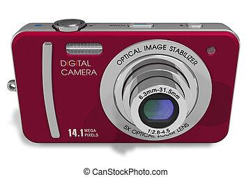 röd, kompakt, digital kamera