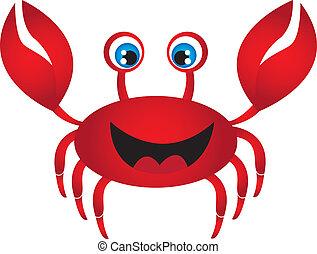 röd, krabba, tecknad film