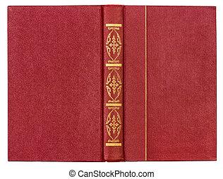 röd, läder, bokpärm, isolerat, vita, bakgrund