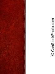 röd, läder, täcka, bok