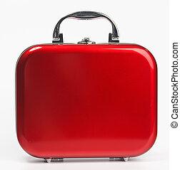röd, liten, resväska