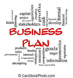 röd, lock, affärsverksamhet planera, ord, moln, begrepp