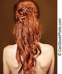 röd, lockig, långt hår, stil, av, vacker kvinna