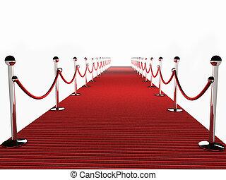 röd matta, över, vit fond