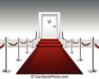 röd matta, ledande, till, den, dörr