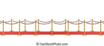 röd matta, med, rep, barriär