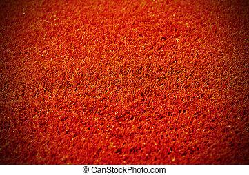 röd matta, tillsluta, bakgrund, eller, struktur