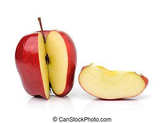 röd, mogen, äpple