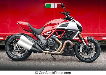 röd, motorcykel