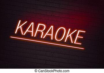 röd, neon signera, med, karaoke, text, på, vägg