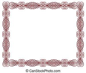 röd, ornamental, attest, gräns