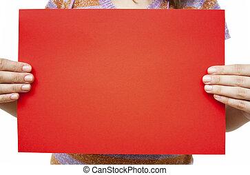 röd, papper