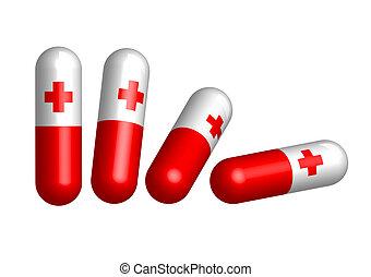 röd piller, kapsel