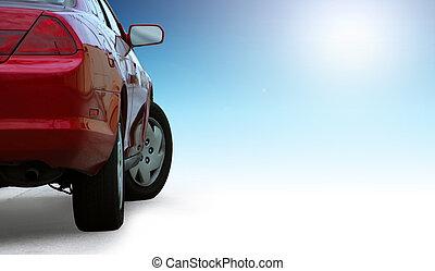 röd, prålig, bil, specificera, isolerat, på, ren, bakgrund, och, skissera, med, a, klippning, path.