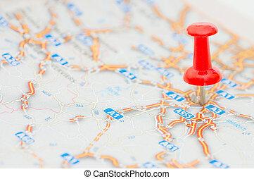 röd, pushpin, märkning, a, lokalisering