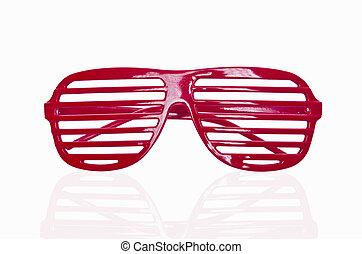 röd, randig, solglasögon, isolerat, vita