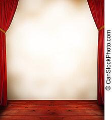 röd ridå, med, tom, bakgrund