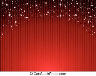 röd ridå, på, teater, med, stjärnor