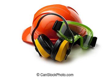 röd, säkerhet hjälm, med, hörlurar, och, goggles