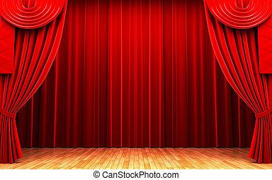 röd, sammet ridå, öppning, scen