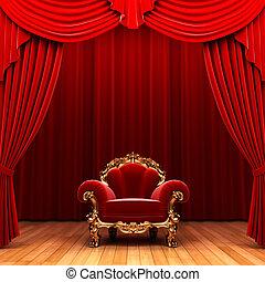 röd, sammet ridå, och, stol