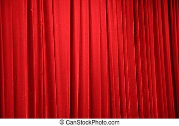 röd, scen ridå