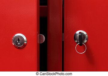 röd, skåp dörr