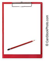 röd, skrivplatta, med, tom, papper, och, blyertspenna