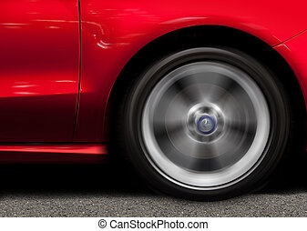 röd, sportbil, i rörelse