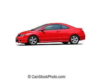 röd, sportbil, isolerat