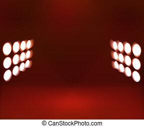 röd, spotlights, rum, bakgrund