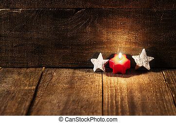 röd, stearinljus, avsluta, vit, stjärnor, på, trä, bakgrund, med, avskrift, space.