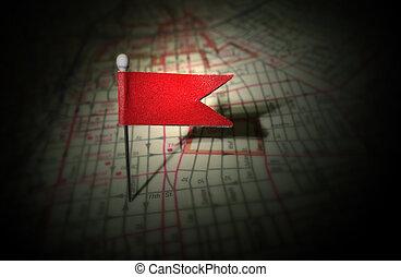 röd, stift, karta