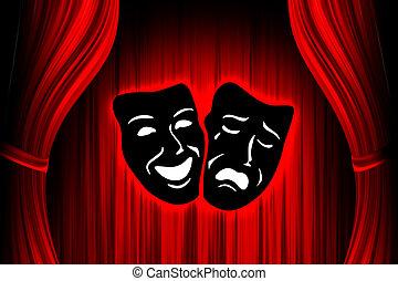röd, teater, arrangera