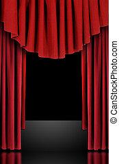 röd, teater, arrangera, draperat, ridåer