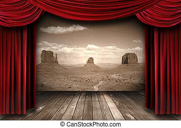 röd, teater, gardin, kläda, med, öde fjäll, bakgrund