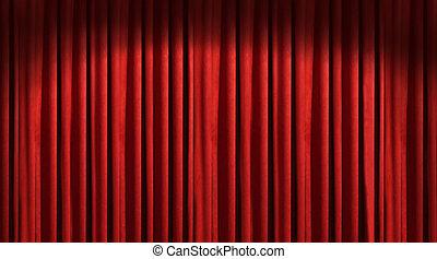 röd, teater, gardin, med, mörk, skuggor