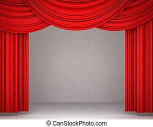 röd, teater, gardin
