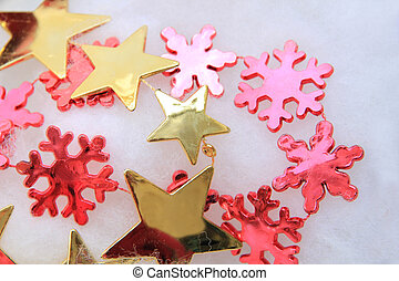 röd, utsmyckningar, guld, jul