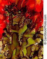 röd värld, gröna abstrakta